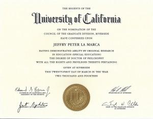 UCR Ph.D. Diploma